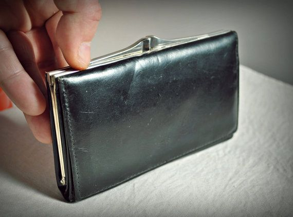 Vintage Black Leather Wallet 50s Change Money Leather
