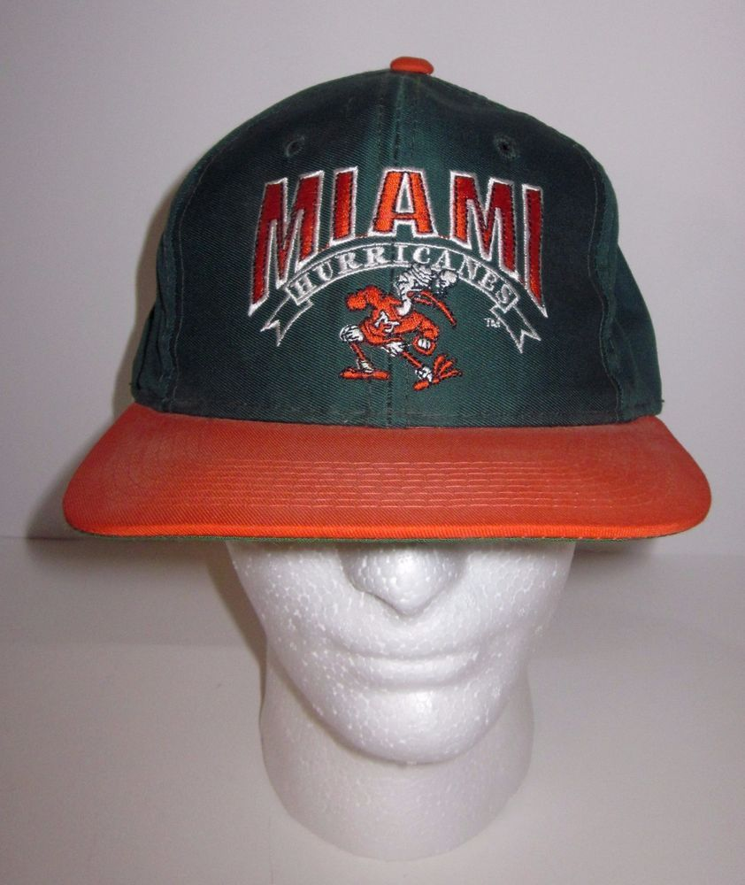 NEW FOOTBALL HAT GREEN FLAT BRIM  WOOL BLEND MIAMI HURRICANES