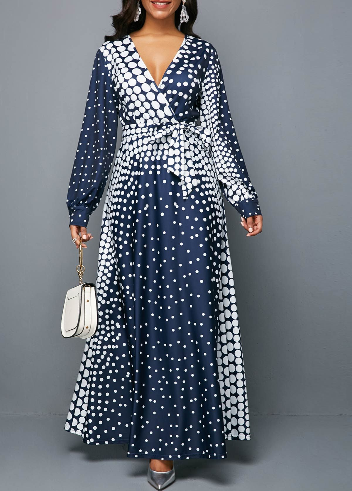 Long Sleeve Polka Dot V Neck Belted Maxi Dress Fashion Dresses Online African Dresses Modern Long Sleeve Black Maxi Dress [ 1674 x 1200 Pixel ]
