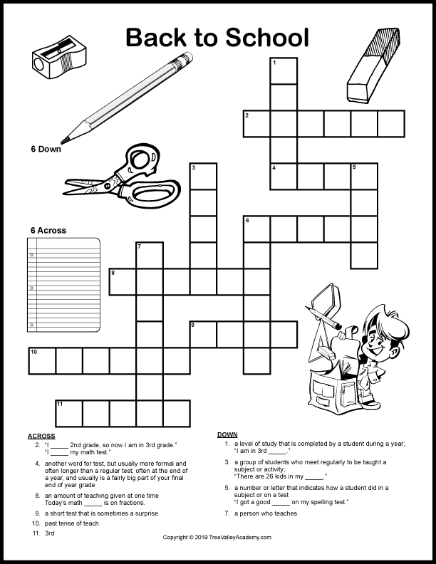 It is a photo of Printable Crossword Puzzles for Kids throughout third grade