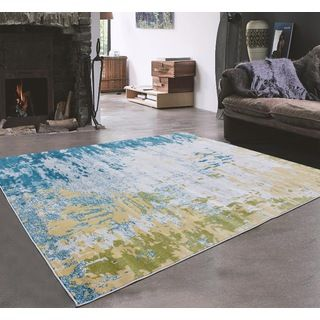 House · Shop For Grey Green Turquoise With Very Light Yellow Indoor Area Rug  ...