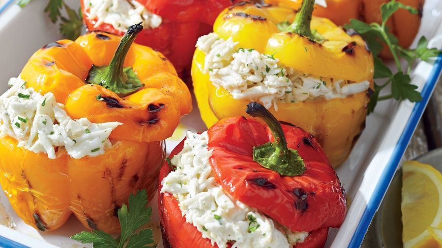 Crab Stuffed Grilled Bell Peppers Bored With Predictable Crab Dishes Try It Tossed In A Salad Warmed In A Dip Or Comb Crab Recipes Stuffed Peppers Recipes