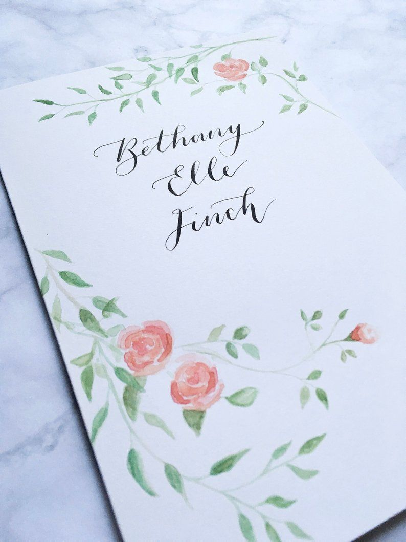 Bespoke Custom Hand Painted And Lettered Name Card Perfect For