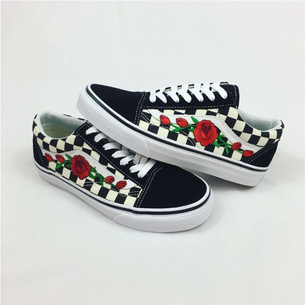 253d23d663e Custom Checered Vans Old Skool Vans Rose Vans Womens Sneakers Unisex...  ( 110) ❤ liked on Polyvore featuring shoes