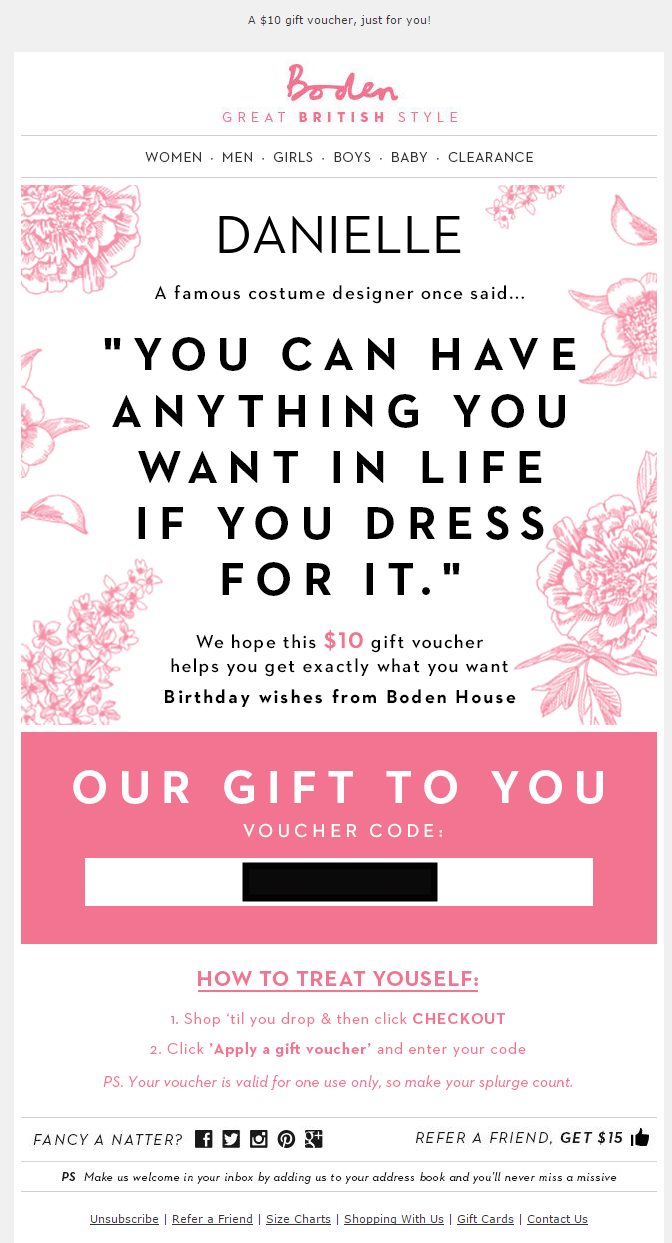 Boden usa birthday email 2015 email auto birthday for Boden newsletter