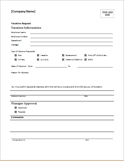 Employee Leave Form Employee Vacation Request Form For MS WORD  Leave Request Form Template