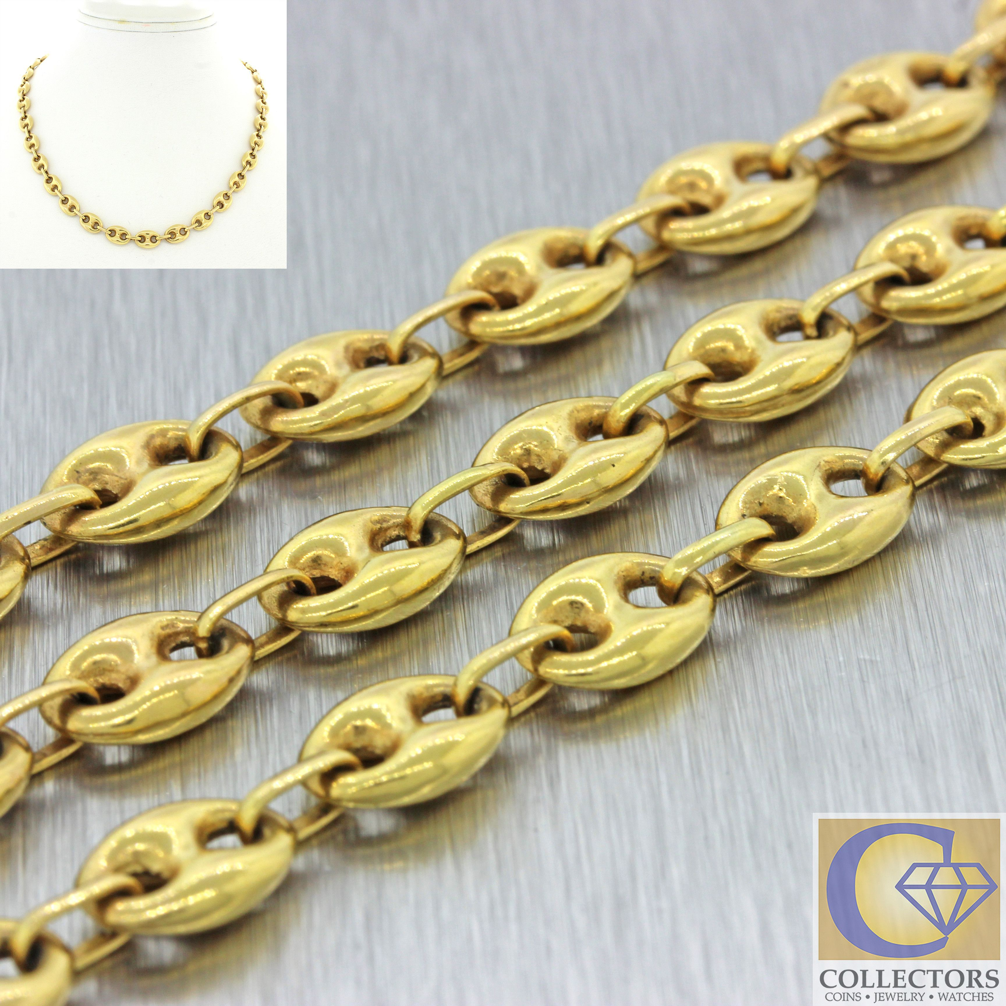 7ed3892f5 Men's Women's 14k Solid Yellow Gold 6mm Puffed Gucci Mariner Chain Necklace  18.6