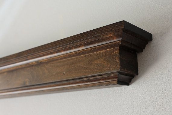 Etonnant Wood Wall Shelf  Dark Stained Floating Display Shelf Or Fireplace Mantel   Lengths Of 36