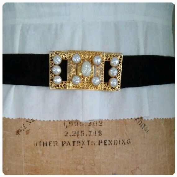 The DAZZLING DIOR Belt Vintage 1980's Gold Faux Pearl Black Suede Belt with Hook Closure Original Christian Dior Size Medium 10 Size 30