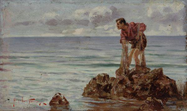 """ANGIOLO TOMMASI (LIVORNO, 1858 - TORRE DEL LAGO, 1923), """"LA PESCA"""". Olio su tavola, cm. 10x16,5 Firmato in basso a sinistra: Angiolo Tommasi. Galleria Pananti Casa d'Aste"""