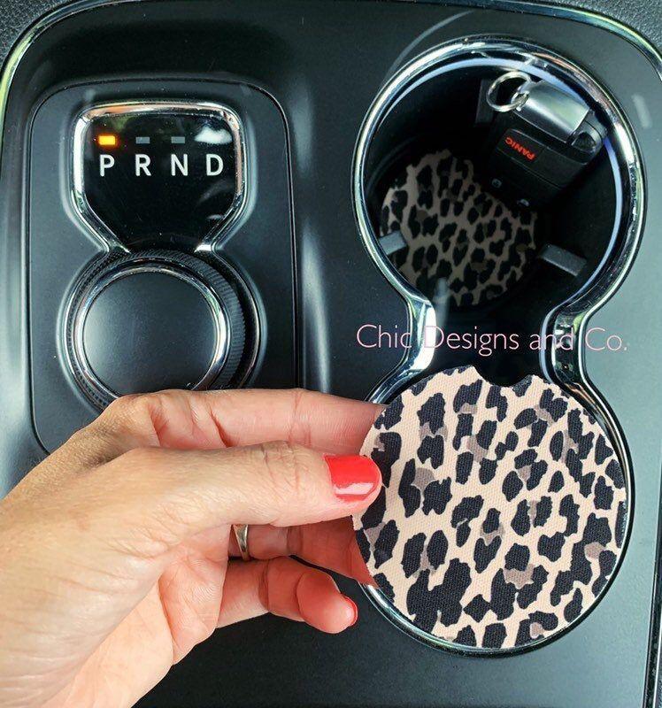 Leopard Car Coasters, Coaster Set, Cheetah Car Coasters, Leopard Coasters, Cup Holder Coasters, Rubb