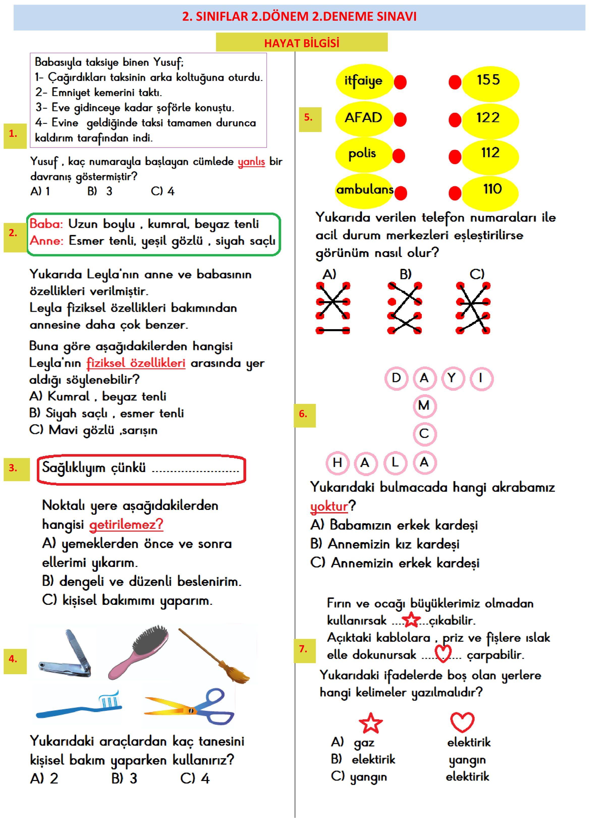 2 Sinif 2 Donem Deneme Sinavi Sinif Hayat Bilgisi Matematik Defterleri