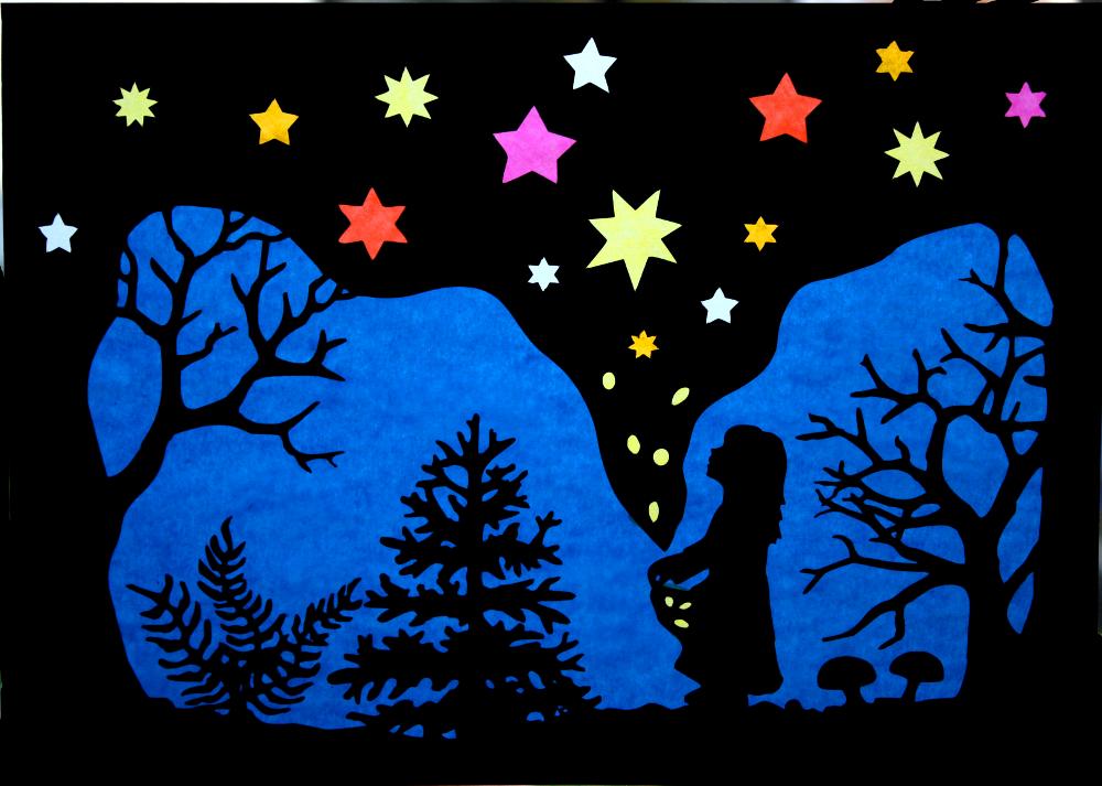 In Meinem Kreativblog Erfahrt Ihr Wie Dieses Sterntaler Fensterbild En Fensterbilder Weihnachten Basteln Fensterdeko Weihnachten Basteln Fensterbilder Basteln