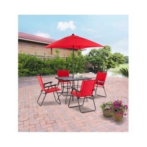 Patio Table Set Outdoor Dining Furniture Folding Chairs Umbrella 6 Piece  Seating #Mainstays