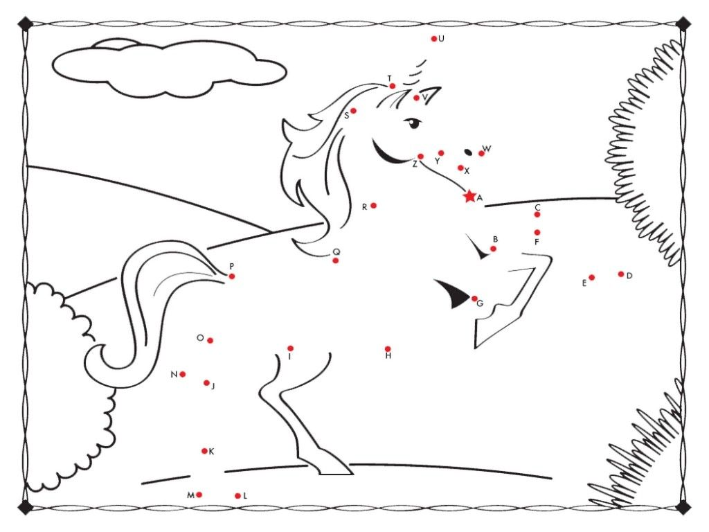 Unicorn Connect The Dots Coloring Page Free Fun Coloring