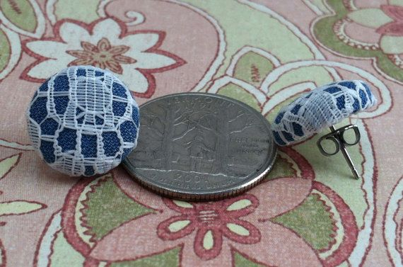 Denim fabric and circular lace button earrings