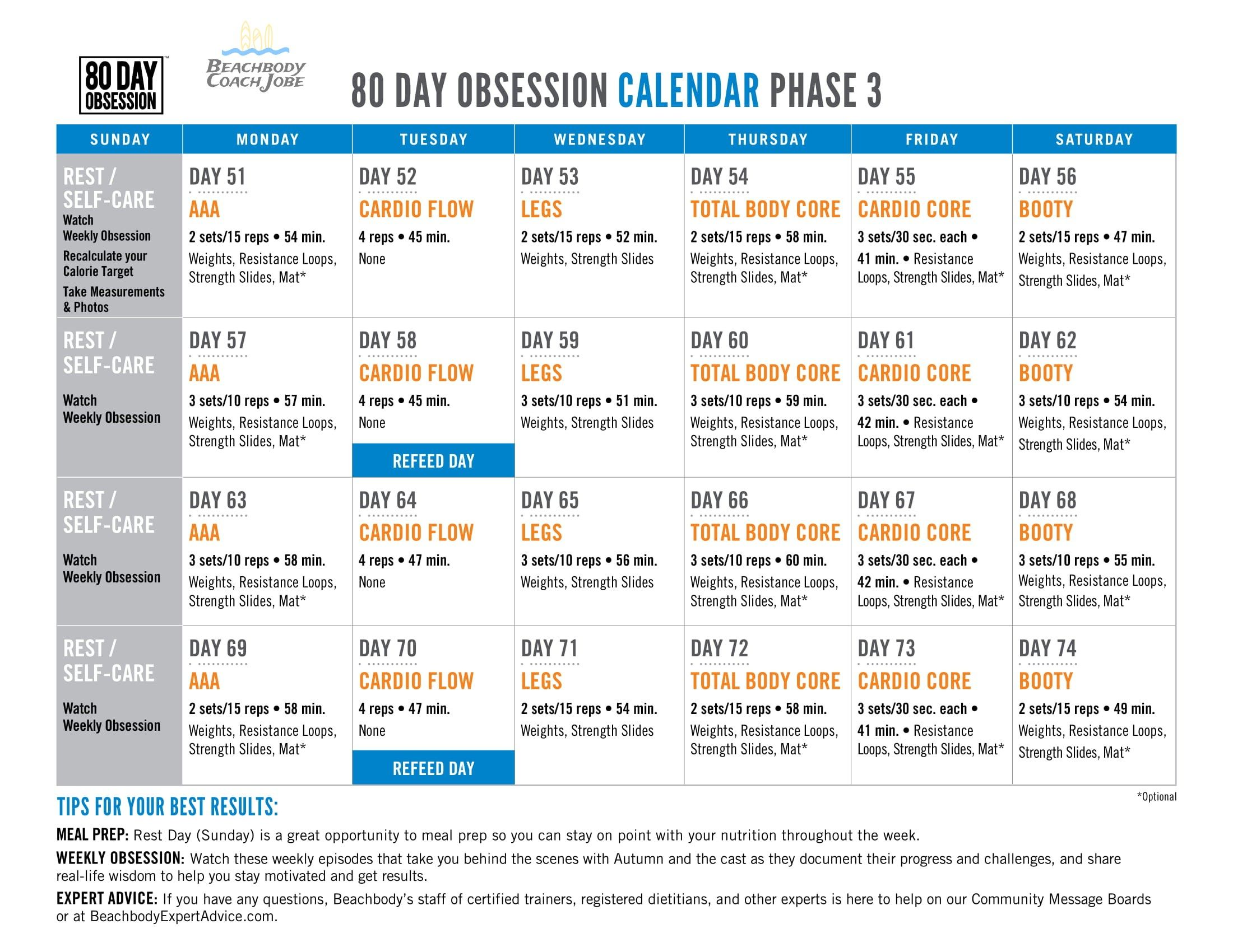 80 Day Obsession Calendar Phase 3 By Beachbody The