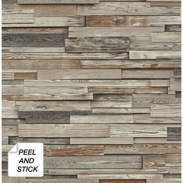 Nextwall Reclaimed Wood Plank Charcoal Brown Vinyl Peelable Roll Covers 30 75 Sq Ft Nw32601 The Home Depot Peel And Stick Wood Wood Planks Peel And Stick Wallpaper