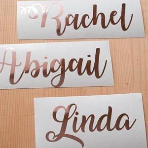 Rose gold name decal, gold foil custom name, rose gold script font