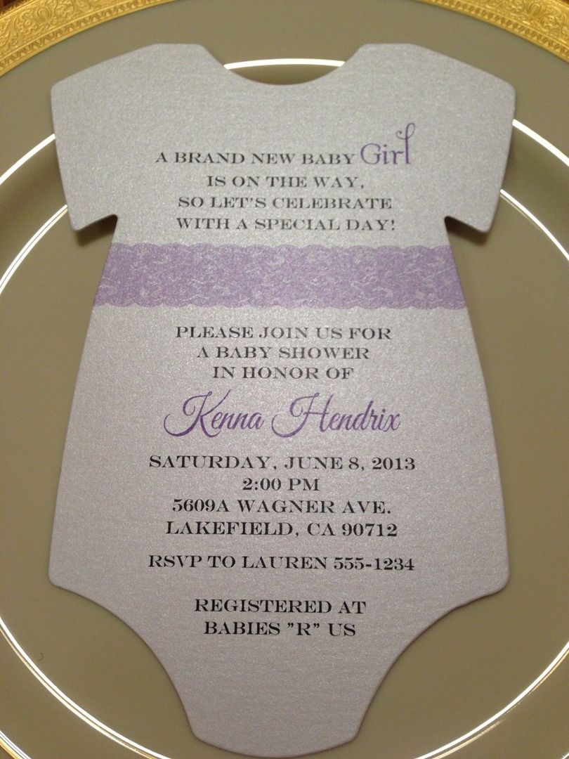 Purple Lace Baby Shower Invitation in shape of a Onesie. By RSVP ...