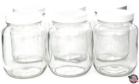 5a14585dfd2 64 ounce HALF GALLON Wide Mouth Clear Mason Jars (6 PACK) with Lids ...