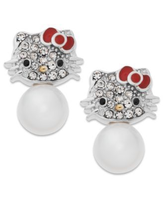 738a80286 Hello Kitty Pearl (6mm) and Crystal Accent Stud Earrings in Sterling Silver