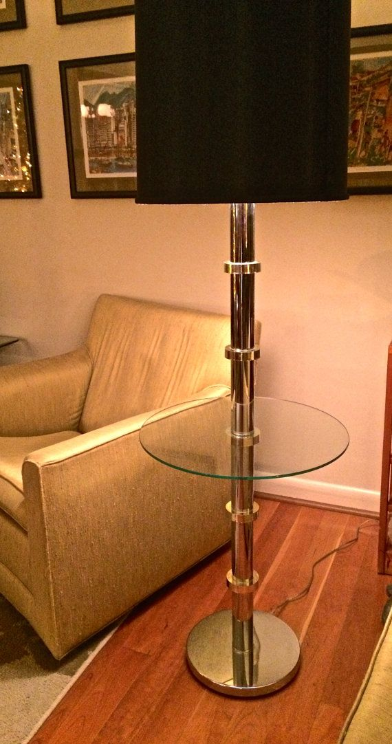 Mid Century Modern Chrome Floor Lamp With Glass Table And Brass Ring  Accents Karl Springer