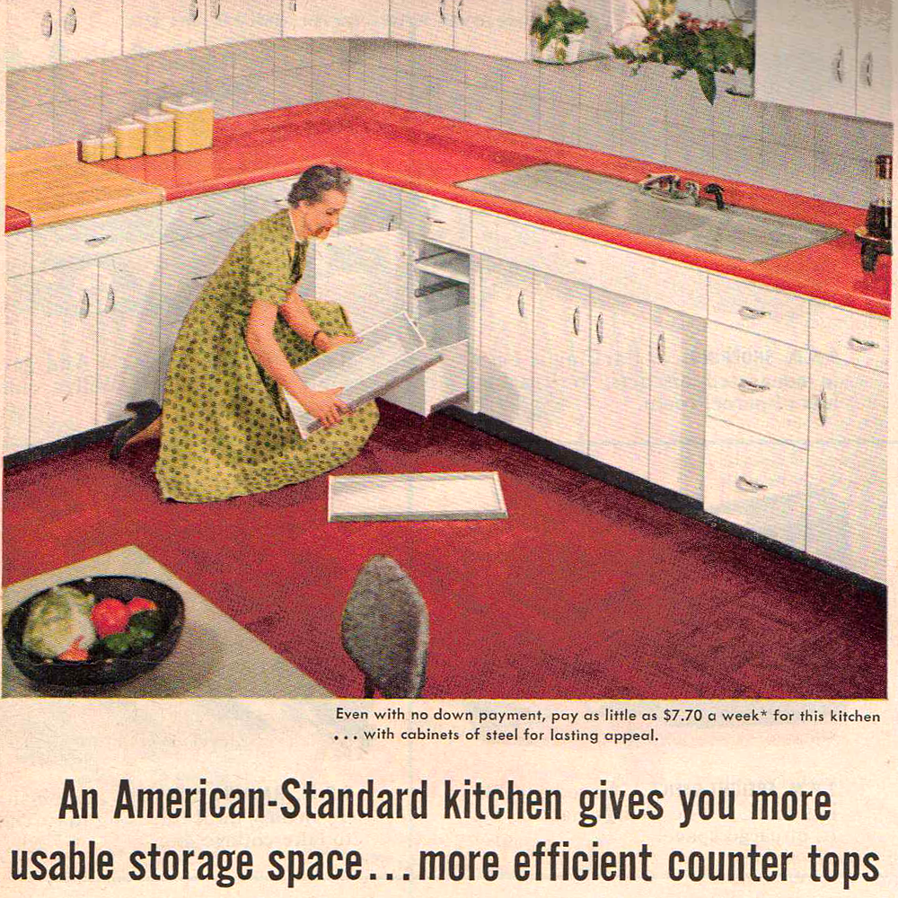 This 1950s Kitchen Had Adjustable Cabinets For Better Storage Space Click The Image To Learn How Mid Century Modern Room Mid Century Decor Mid Century Kitchen