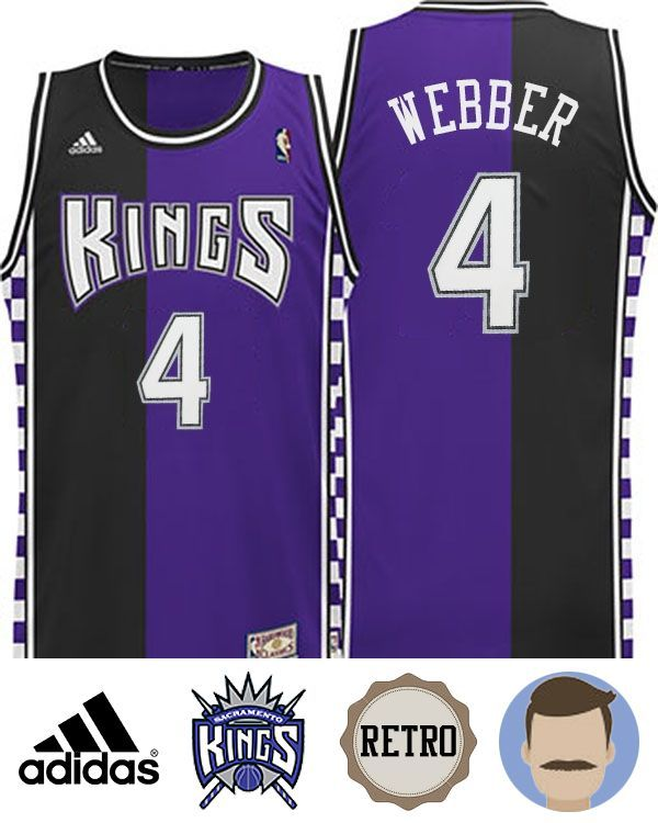 2e563a4db643 Dress in this Men s Kings  4 Chris Webber Hardwood Classic Road Purple  Jersey and relive