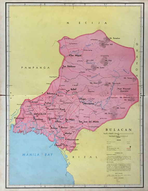 1959 Large Vintage Map of Bulacan Province the Philippines
