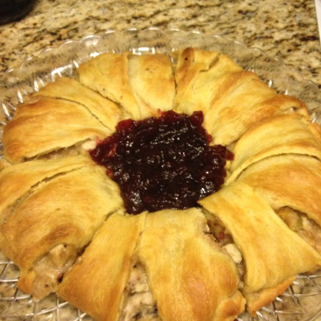 From a pampered chef party: cooked chopped/shredded turkey or chicken, add  mayo,whole cranberry sauce, celery, shredded cheese, apples, mustard, honey... recipe said cresent rolls but I used pie crust, sliced up and BS'ed it into a ring. stayed flakey during the nuking  Lay t pie crust out in a ringish shape  and form filling into a circle on top. wrap the  crust over stuffing pressing into crust on the bottom.  375 for 25-30min or  golden brown.  Add cranberry sauce to middle if desired.