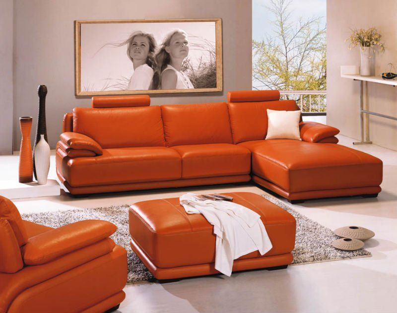 Orange Sofa Testimony And Example: Fancy Leather Orange Sofa Modern Living  Room Grey Rug Part 70