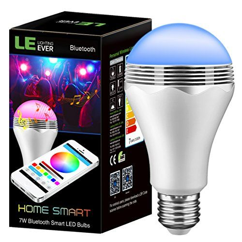 Le Bluetooth Smart Led Light Bulb With Speaker 2 In 1 Dimmable Multicolor Changing Lights Smartphone Controlled Rgb Compatible Iphone And Android