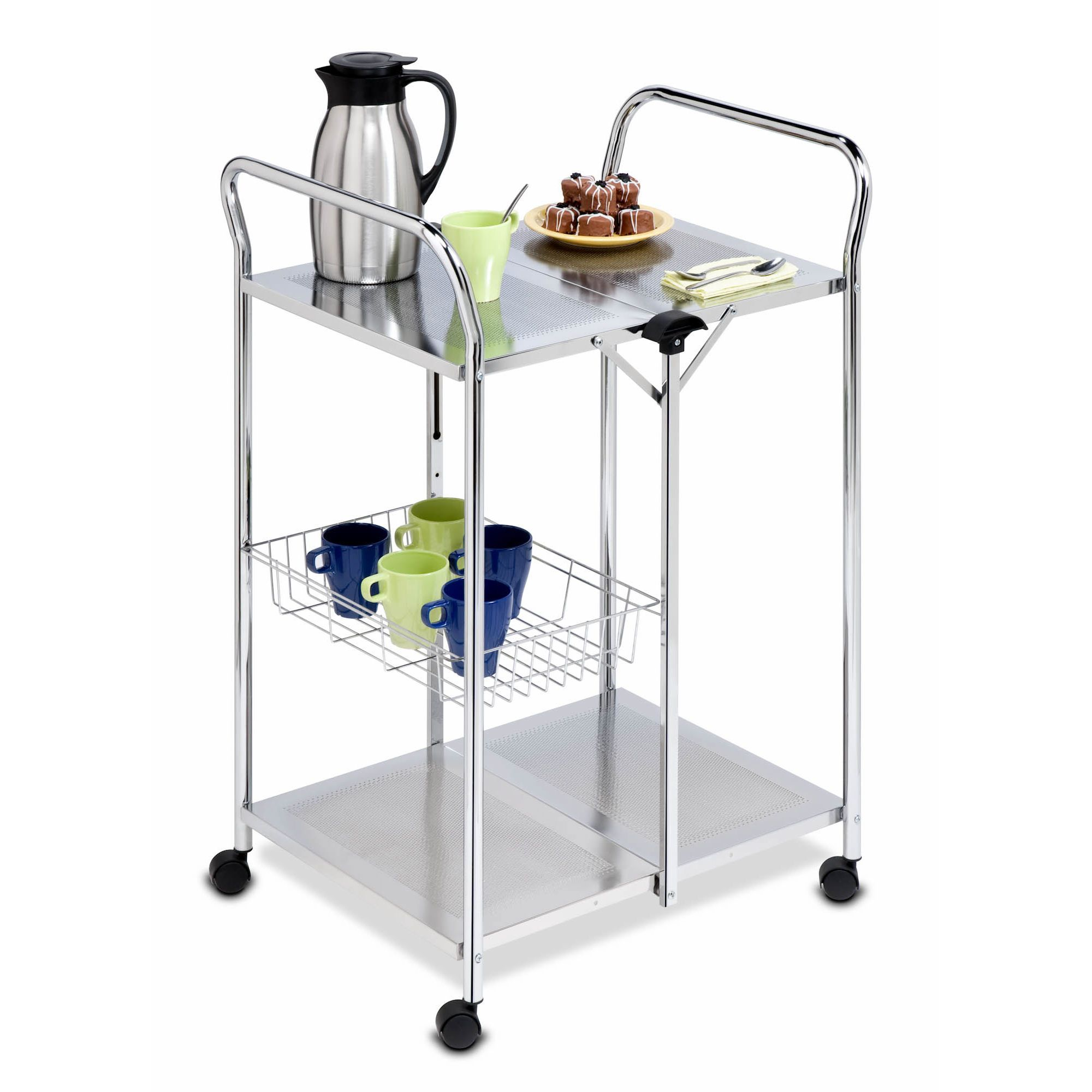 Honey Can Do Deluxe Foldable Push Cart Chrome
