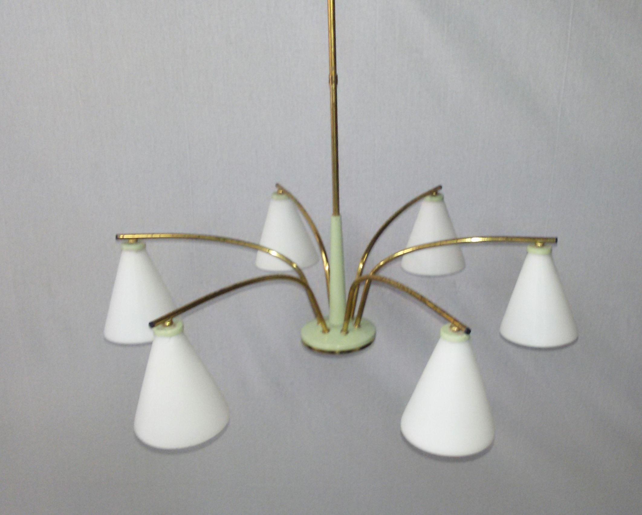 Lampadario,chandelier,6 luci,ottone design Stilnovo