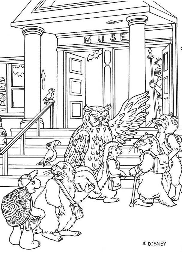 Franklin and museum coloring page