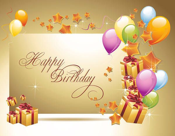 Happy Birthday greeting card Cute birthday background Vector