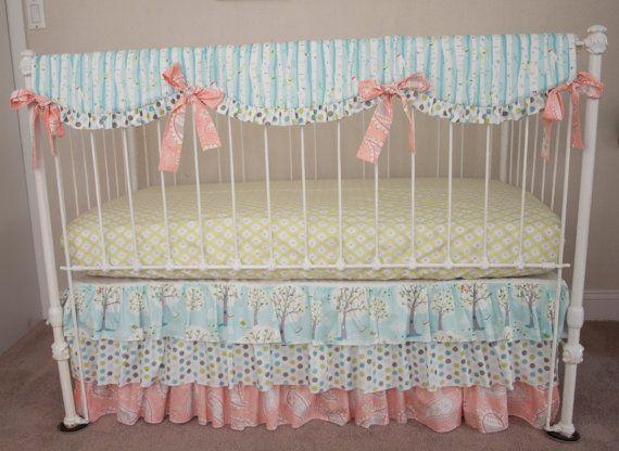 Baby Girl Crib Bedding in Blue / Green / Pink by HandmadeBySasha
