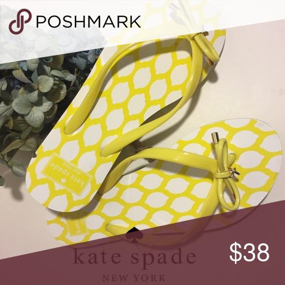 Kate Spade lemon print yellow sandals