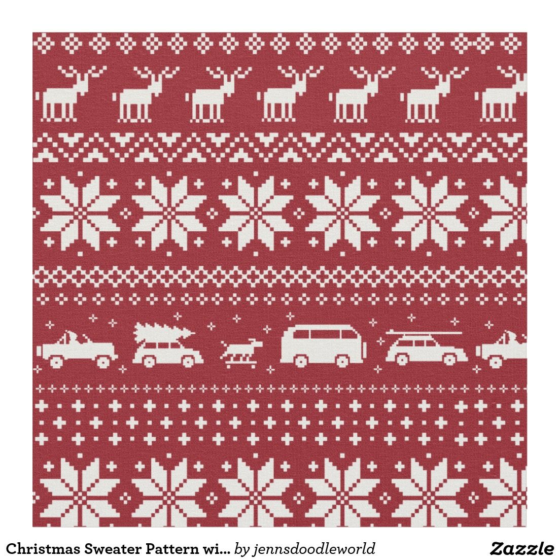 Christmas Sweater Pattern With Reindeer And Cars Fabric Christmas Sweaters Car Fabric Sweater Pattern