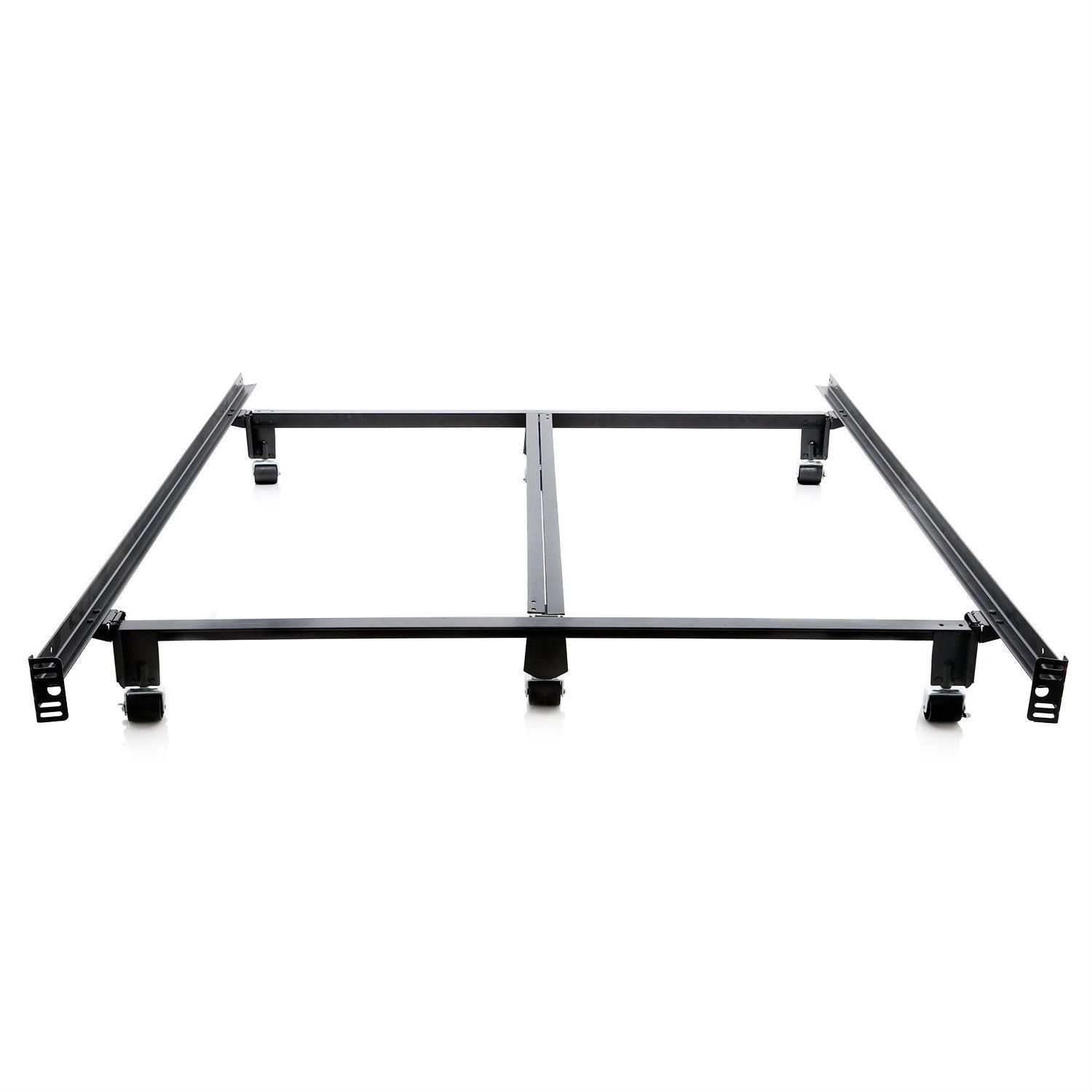 King Size Heavy Duty Metal Bed Frame With Locking Rug Roller Casters