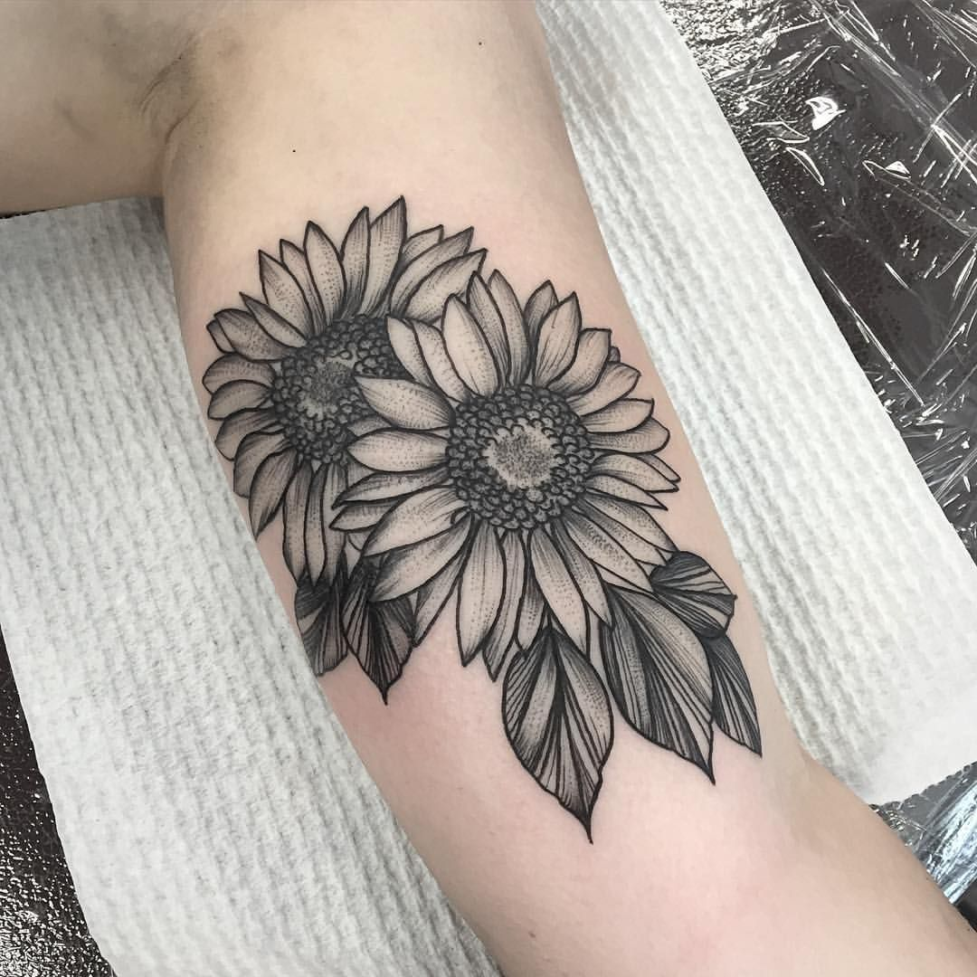 Sunflowers done today voodooink beautytatoos tattoous