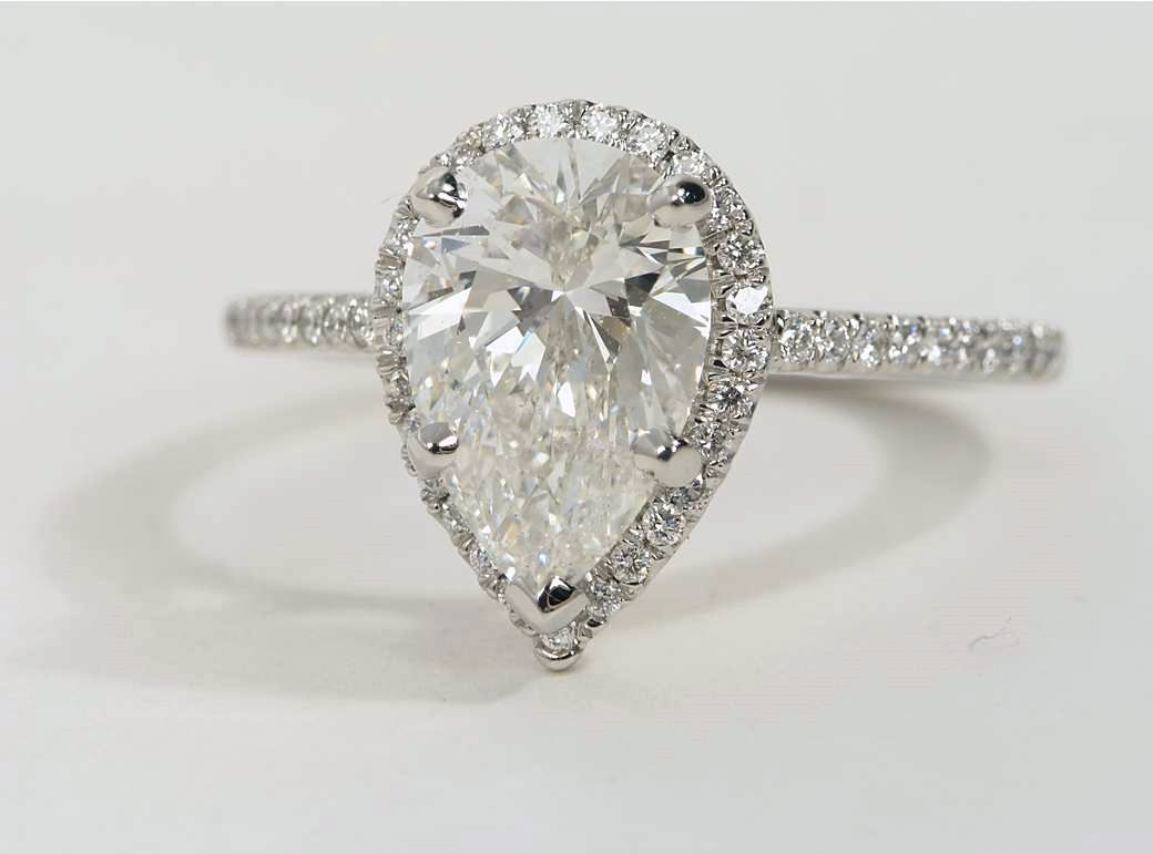 Pear Shaped Halo Diamond Engagement Ring in Platinum