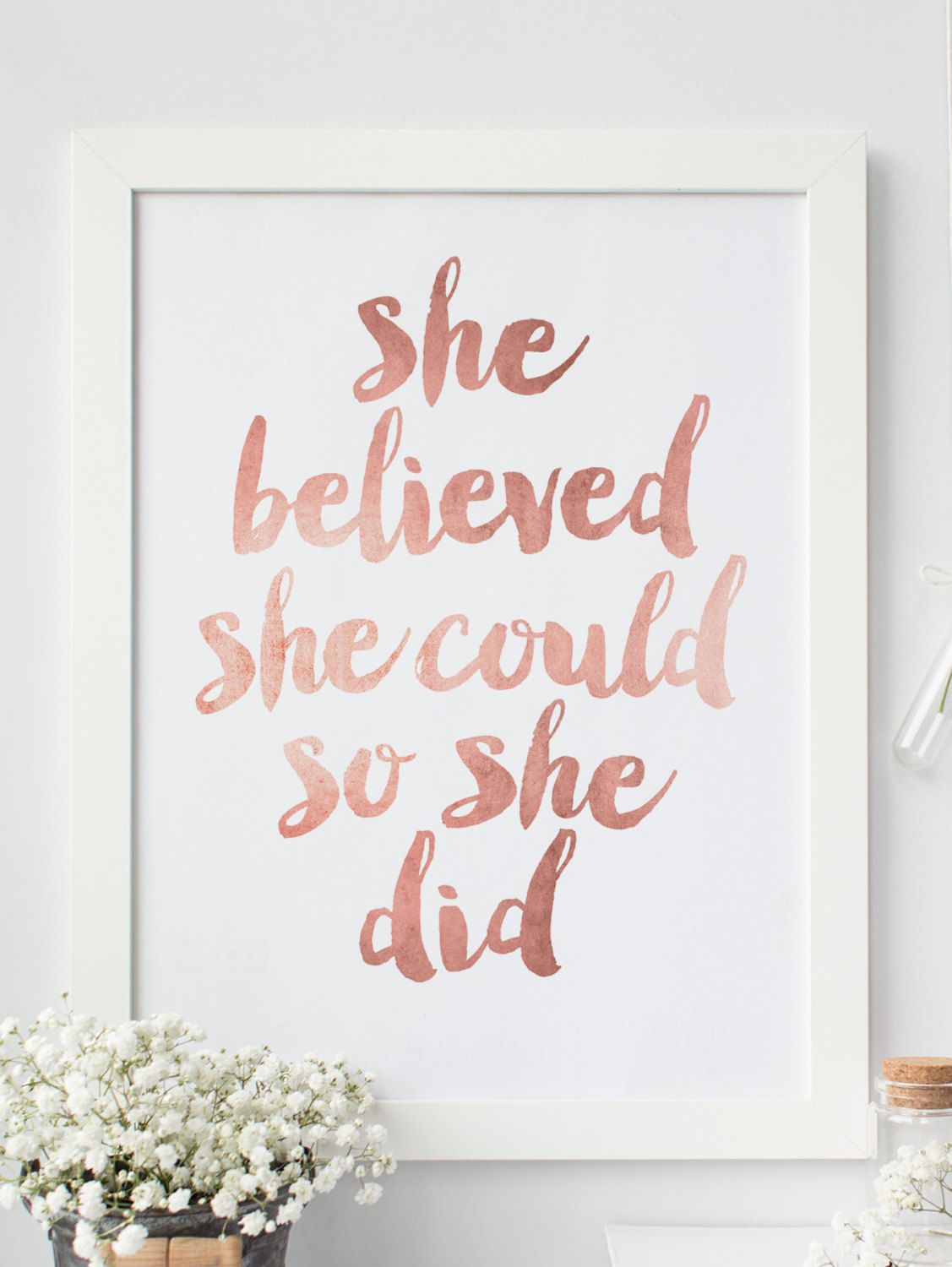 "Inspirational Print ""She Believed She Could So She Did"