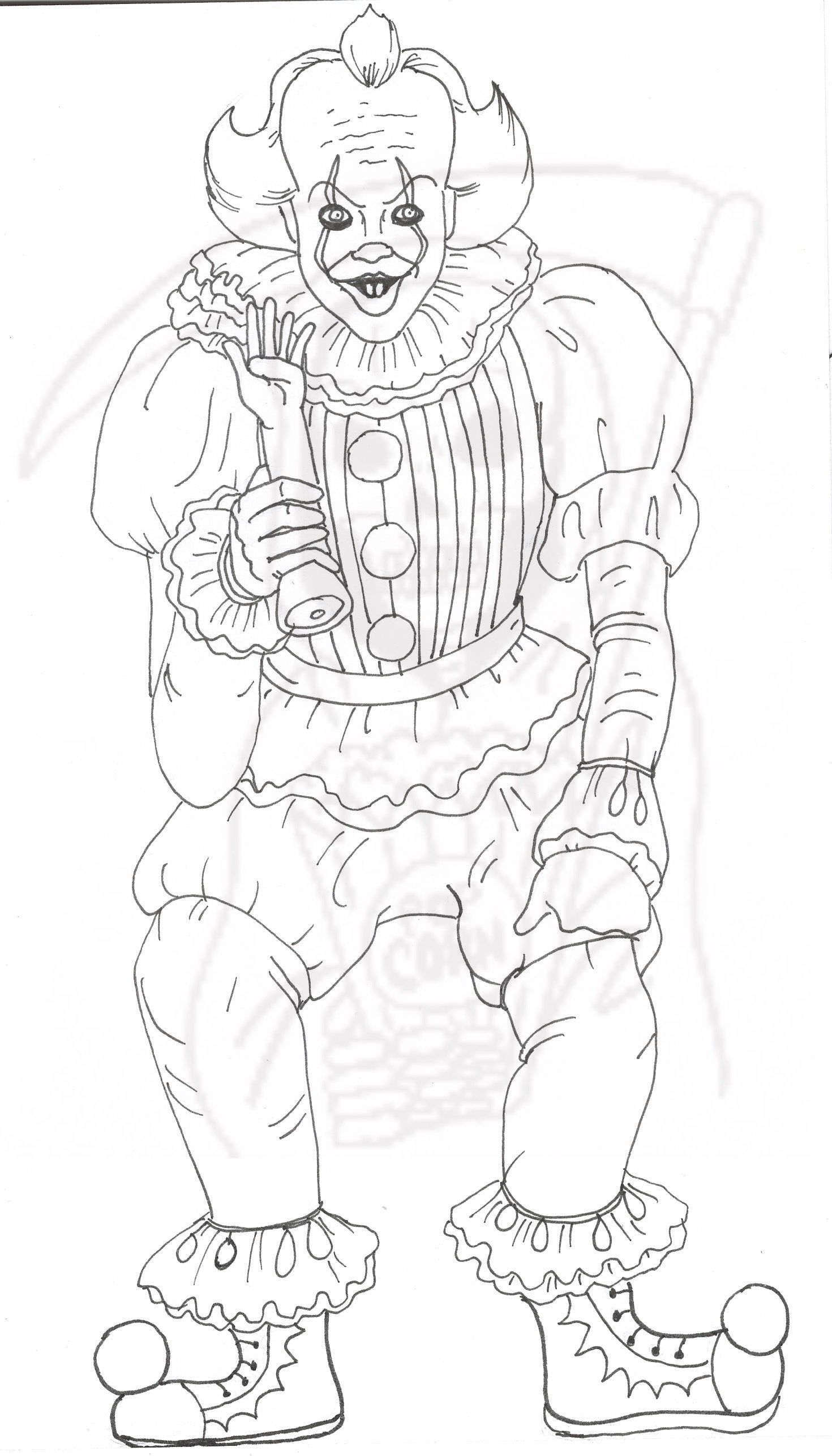 Pennywise, Coloring Page, It, Creepy Clown in 2021