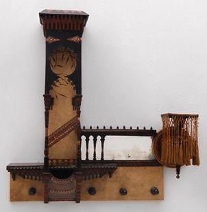CARLO BUGATTI hanging shelf with mirror, walnut, ebonized wood, copper, metal, parchment, 108 x 110 x 25 cm