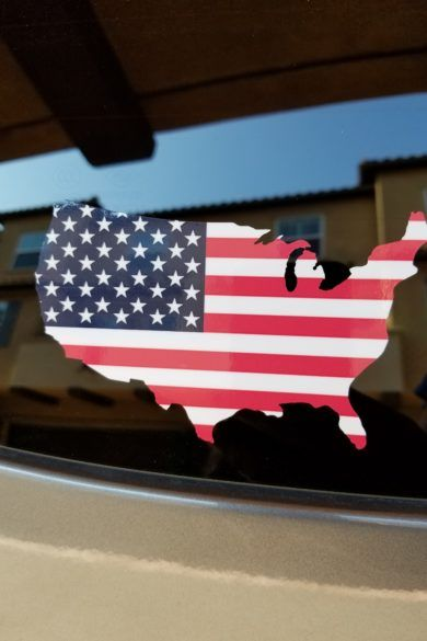 Usa outline with american flag printed sticker