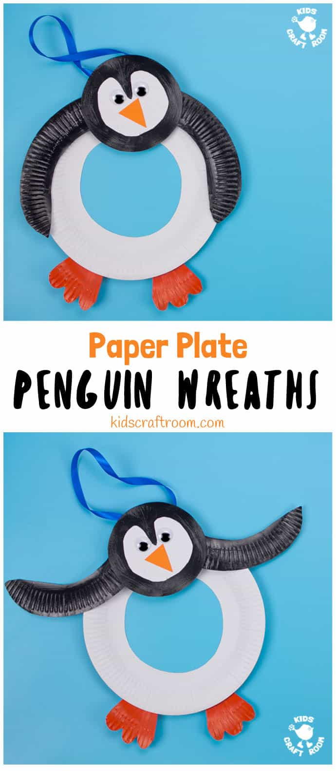Paper Plate Penguin Wreath #penguincraft