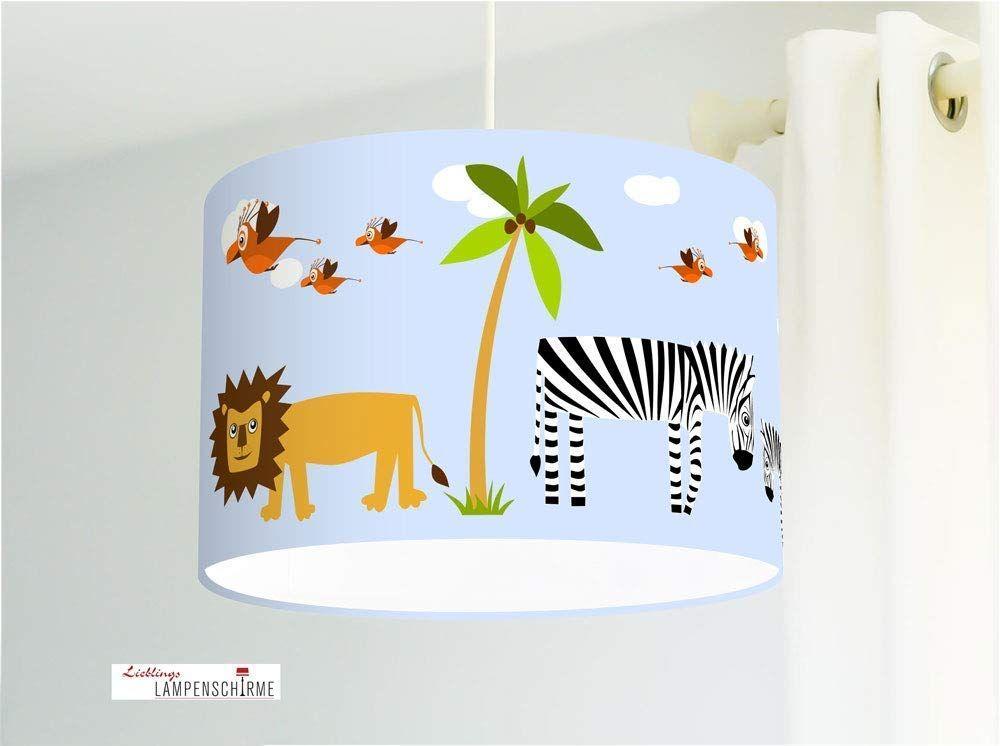 Lampe Kinderzimmer mit Safari Tieren Löwen Giraffen Zebras