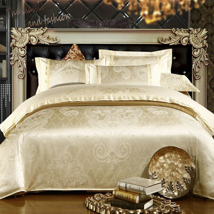luxury bedding | 4PC-Jacquard-king-Queen-Size-Bedding-Set-Luxury-bed-set-New-Arrival ...